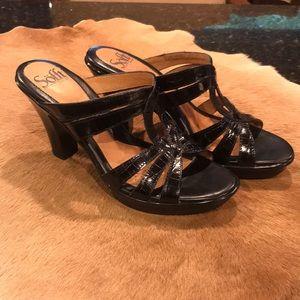 Sofft Slip on Strappy Heel Black Size 7